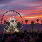The sun sets over the Coachella Music & Arts Festival at the Empire Polo Club on Saturday, April 21, 2018, in Indio, Calif. (Photo by Amy Harris/Invision/AP)